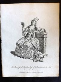 Jefferys C1760 Costume Print. Undress of the Dutchess of Portsmouth in 1666